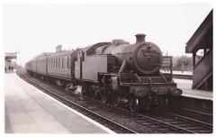 Steam Engine 42445 at Watford Junction. (ManOfYorkshire) Tags: 42445 2445 lms britishrailways 1936 derby works watford watfordjunction railway train station shed 1c 264 tank steam locomotive engine bw blackwhite photograph passenger stock 1948