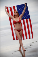 Happy Birthday America (Extra Medium) Tags: red beach santabarbara flag americanflag patriotic bikini july4th swimsuit islavista independanceday redbikini