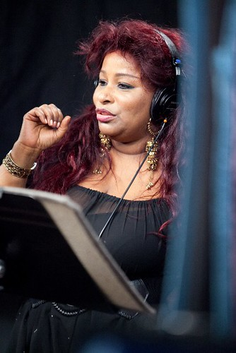 Chaka recording the theme song to Wedlock or Deadlock