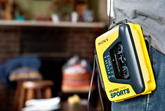 Happy 30th Birthday, Walkman! (Ham Hock) Tags: sports yellow walkman sony retro tape 30thbirthday 80s analogue cassette waterresistant fmam portablemusicplayer wmaf59