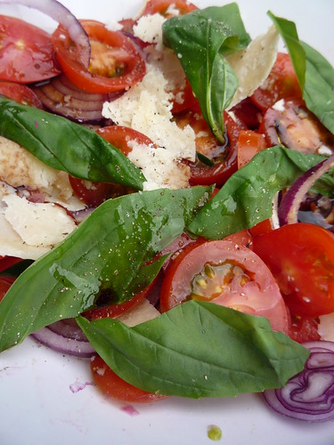 Tomato, Red Onion Parmesan and Basil Salad by you.