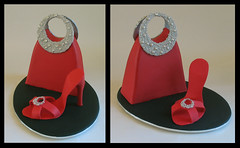 Red Evening Bag & Shoe (Nati's Cakes) Tags: cake shoe handbag gumpaste cachous