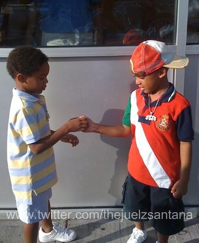 Jim Jones' son and Juelz' son practice the cool-kid handshake! Cuteness!