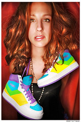 .event. (.SANCHEZ.) Tags: blue wild portrait colors face fashion yellow vintage hair weird crazy eyes shoes eyecontact colorful pretty purple skin girly ad curls lips sneakers jess wavy yella apparel sanchez poofy ponyshoes kennysanchez kennysanchezcom
