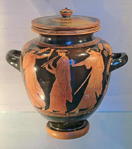 "Terracotta, ""Footed Jar with Dancing Maenads"", Greek, attributed to the Chicago Painter, ca. 450 B.C., at the Saint Louis Art Museum, in Saint Louis, Missouri, USA"