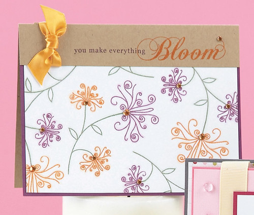 I'd say white space is Jessica's friend!  The white space on this gem (from Stamp It! Cards) really lets the swirly flowers and simple sentiment do the talkin'.