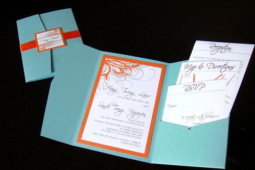 Wedding Invitations Aqua Blue Orange Flickr Photo Sharing