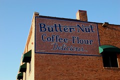 "South Dakato, Rapid City, Butter- Nut, Coffee-Flour, ""Declious"" (Replica advertisement) (7,144) (7,025) (EC Leatherberry) Tags: coffee wall flour butternut advertissement southdakato penningtoncounty replicaadvertisement"