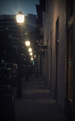 Streetlights (KYin1221) Tags: california street blue light sky people orange usa building cars yellow night walking evening losangeles streetlights sidewalk busy walls lamps trashcan vignette depth oldtownpasadena kyphotography lostinlifeagain