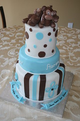 Monkey Cake (irresistibledesserts) Tags: birthday blue boy baby brown shower monkey baptism