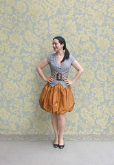 Mushroom Skirt (Elsita (Elsa Mora)) Tags: blue portrait orange inspiration selfportrait color art smile fashion photoshop self hair happy outfit nice shoes artist personal top sandals background inspired remix seed style skirt blouse hidden blogged wardrobe elsa mora selfexpression elsita