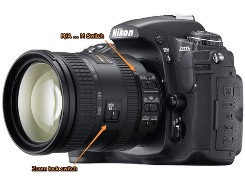 M/A ... M and zoom lock switches on the Nikon 18-200mm VR II lens