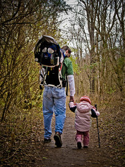 Tenderfoot (code poet) Tags: pink portrait man girl woods toddler walk lexington kentucky trail holdinghands ravenrun a640