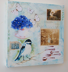 My Little Blue Chickadee Mixed Media Painting (SusanNajarianArt) Tags: flowers white bird butterfly painting mixedmedia fork spoon stamp chickadee teacup sheetmusic motheranddaughter bllue vintagephotographs