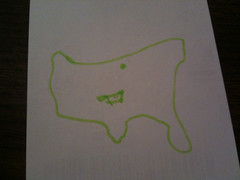 My poor airplane sketch of the U.S. and Oklahoma