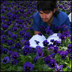 Flower power (Daniel Smith Photography) Tags: blue selfportrait flower colour grass shirt photoshop canon garden reading book pansy naturallight petal knowledge 365 headband laying