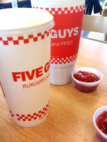 Doing 5 guys for lunch... and having fun saying so.