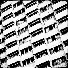 B A L C O N I E S (manganite) Tags: windows urban bw white black berlin geometric architecture modern digital photoshop buildings germany square de geotagged iso200 blackwhite nikon europe bright tl framed balcony perspective front simplicity frame cropped highkey d200 minimalism nikkor dslr simple minimalistic tilted cladding upwards lightroom 50mmf18 structured f32 nikond200 manganite colorefexpro filterforge 11600sec geo:lat=52503912 date:month=september date:day=8 date:year=2009 format:orientation=square format:ratio=11 11600secatf32 geo:lon=13366306 stadtgetty2010