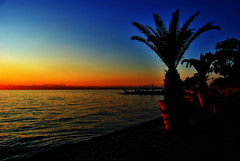 Izola (Sareni) Tags: light sunset sea summer sky people reflection tree beach water silhouette clouds palms lights evening nikon july palm more slovenia slovenija 2009 horizont voda adriatic isola jadran twop izola d60 sealine nikond60 vawe vawes jadranskomore sareni