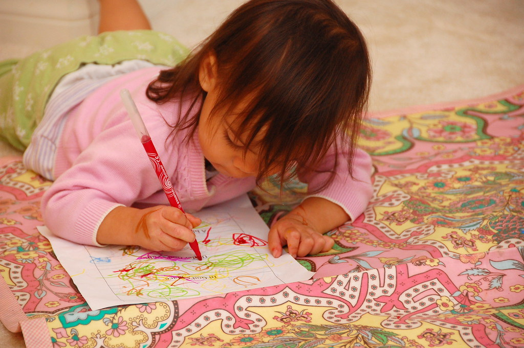 coloring in pajamas