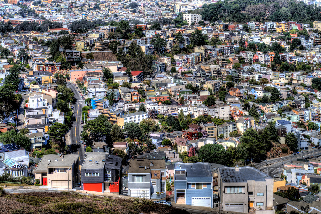 A close in look at a residential area in southern San Francisco.