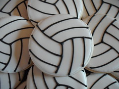 Volleyball Close-up (SweetSugarBelle) Tags: cookies jersey volleball cookiesfavors minivolleyballs