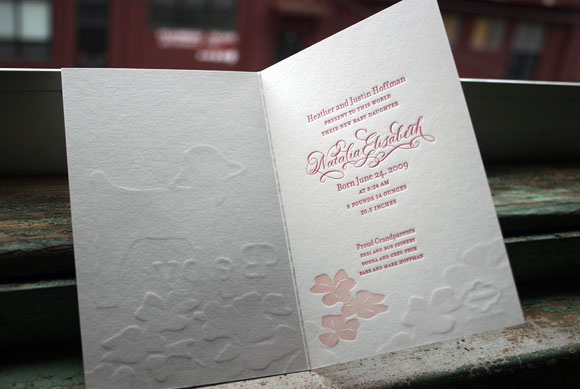Letterpress Baby Announcement with Calligraphy