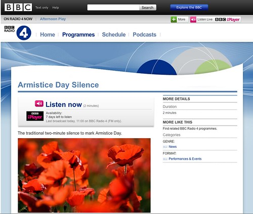 BBC iPlayer page reads Armistice Day Silence, Listen now