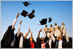Come, let's fly. [..Dhaka, Bangladesh..] (Catch the dream) Tags: sky sculpture monument students festive fly flying hands joy dream graduation du cap ms gown convocation stretched bangladesh throw throwing pupils msc fliers graduates enthusiasm bangladeshi bsc graduationceremony zeal universityofdhaka 45thconvocationofdhakauniversity gettyimagesbangladeshq2