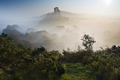 Corfe Castle mist ii (antonyspencer) Tags: uk morning mist castle sunrise landscape dawn shadows heather hill dorset corfe hilltop purbeck gorse