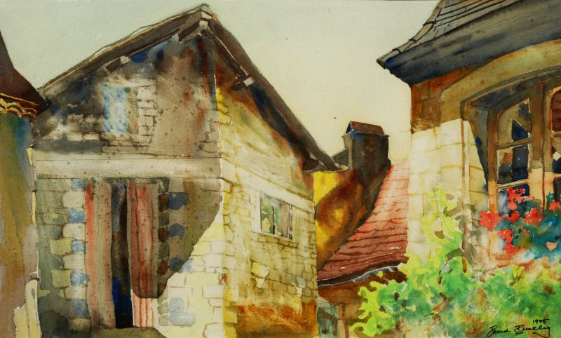 Watercolour painted in a French Village