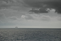 Horizon (Thatsanotherdory) Tags: ocean blackandwhite monochrome clouds composition ship caribbean nautical minimalism d80 monochromaticvisions