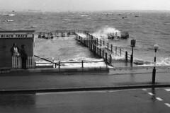 Westcliff Jetty-High Tide - Mar 1974 (piktaker) Tags: uk water thames jetty esplanade seafront riverthames essex southend hightide westcliff southendonsea thamesestuary westcliffonsea westcliffjetty