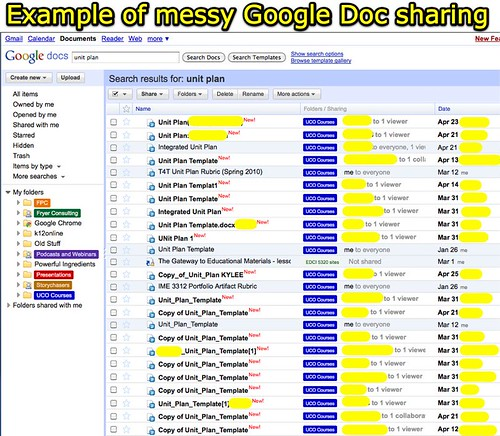 Example of messy Google Doc sharing