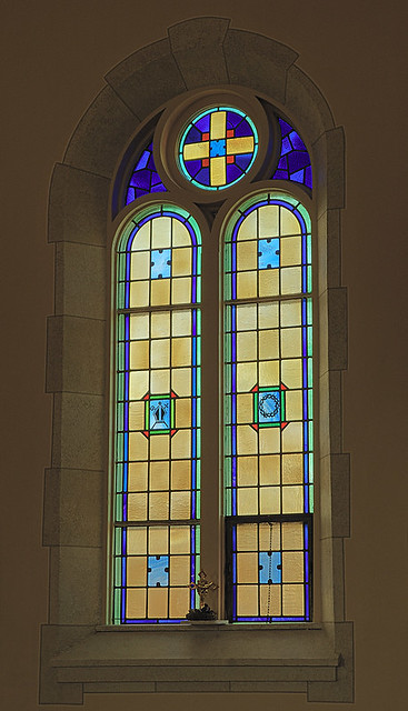 Saint Gertrude Roman Catholic Church, in Grantfork, Illinois, USA - stained glass window