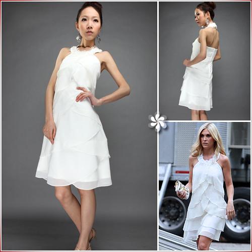 Sheath/Column Jewel Halter Mini Chiffon Layers/Tiered Ruffled Bridesmaid/Cocktail/Homecoming/ Gossip Girl Fashion Dress