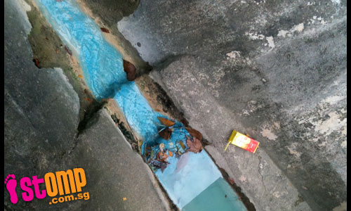 Polluted? Bright blue liquid runs in Toa Payoh drain