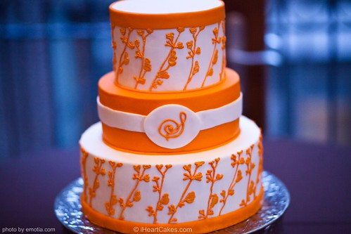 Orange and White Modern Wedding Cake iHeartCakes