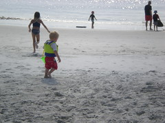 Playing in the sand at Fernandina Beach
