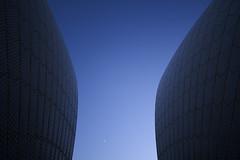 orbit (David Boehm) Tags: blue two sky moon house sunrise dawn opera pentax side sydney curve cresent k7 pentaxk7
