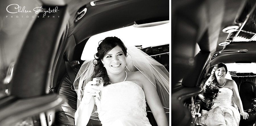 bride in limo on her way to ceremony getting married