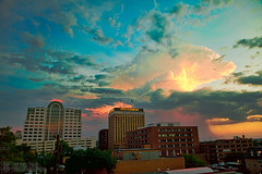 Austin August Showers, or Apocolypse Now? (Peter Tsai Photography) Tags: sunset orange cloud storm mushroom rain weather austin spectacular texas explosion surreal nuclear formation rainstorm thunderstorm thunder anvil thunderhead cumulonimbus appocolypse incus anvilhead