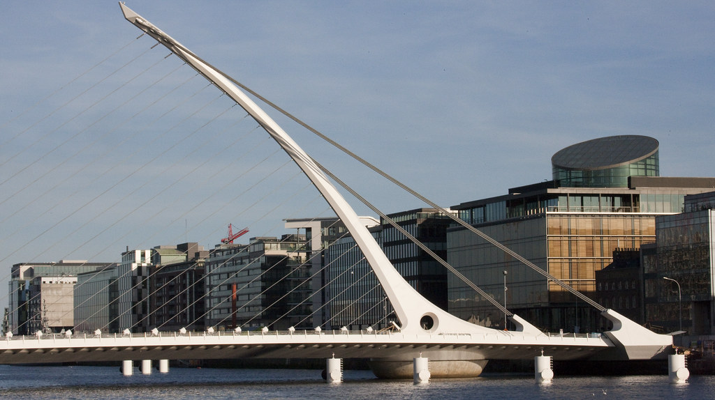 The Samuel Beckett Bridge is under construction.