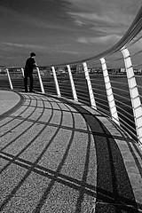 sea watcher (_alfabeta_) Tags: bw white black mare ombra bn biancoenero pontile loscofiguro lidodicamaiore alfabeta parapetto bellavistavittoria