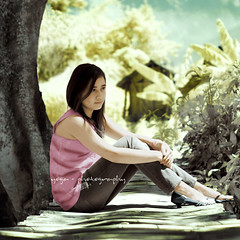 in my loneliness (yoga - photowork) Tags: portrait girl female canon indonesia ir photography 350d 50mm model infrared skintone