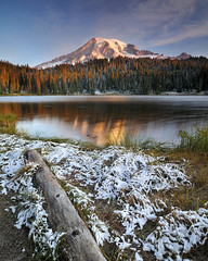 Taste of Winter (Michael Bollino) Tags: lake snow mountains cold reflection fall landscape outside drive early nationalpark nikon mountrainier rainier taste d300 michaelbollino