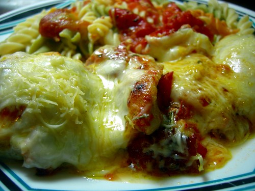 Chicken with oven roasted tomatoes, cheese and rotini