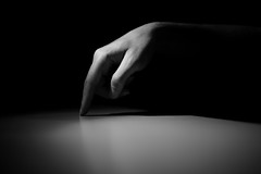 To the point, almost... (Elios.k) Tags: hand fingers black white shadow focus light abstract point table man horizontal blackandwhite pointing exactly monom insta