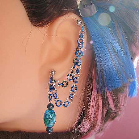 Sea Blue and Green Double Cartilage Chain Earring