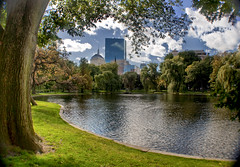 Boston Common - The last warm days (Werner Kunz) Tags: world city trip travel trees cambridge vacation sky urban usa lake holiday green water grass boston clouds america photoshop ma us pond nikon massachusetts fake newengland wideangle center software stadt infrared common ultrawide dri bostoncommon hdr hdri werner beantown metropole skyscrapper kunz photomatix explored colorefex nikond90 topazadjust werkunz1 plutgin